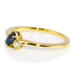 Dainty Opal And Diamond Gold Ring