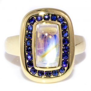 Moonstone Ring With Sapphires