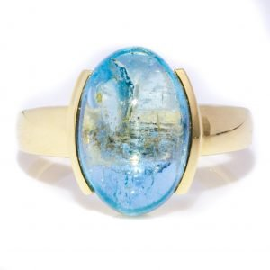 Oval Oval Aquamarine Ring In Gold