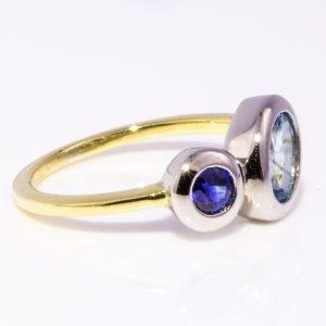 Aquamarine And Sapphire Gold Ring