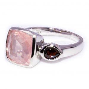 Square Cut Rose Quartz Ring with Garnet