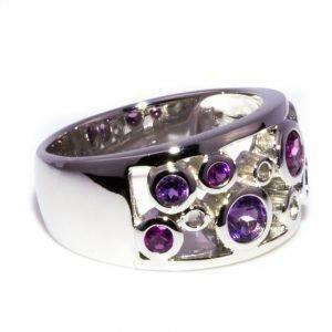 Amethyst Silver Circles Ring