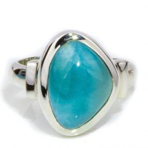 Asymmetrical Larimar Ring