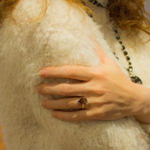 Asymmetrical Faceted Smoky Quartz Ring