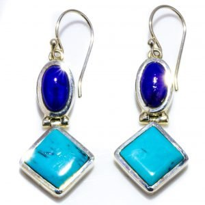 Turquoise and Lapis Geometric Earrings