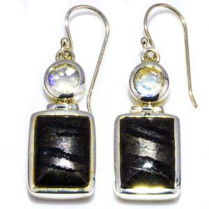 Banded Hematite and Moonstone Earrings