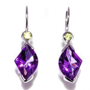 Amethyst and Peridot Drop Earrings