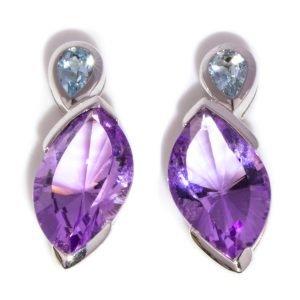 Amethyst and Blue Topaz Stud Earrings