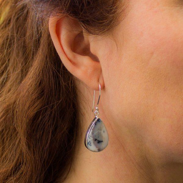 Large Dendritic Agate Tear Drop Earrings