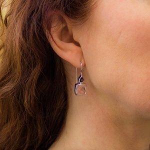 Garnet and Rose Quartz Square Drop Earrings