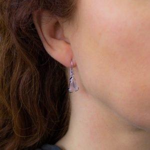 Rose Quartz Dainty Earrings