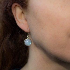 Round Moonstone Dangle Earrings