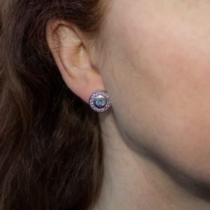 Blue Topaz and White Sapphire Stud Earrings