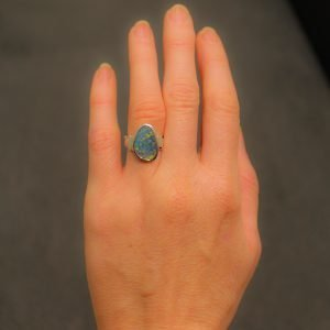 Large Black Opal Ring In Silver