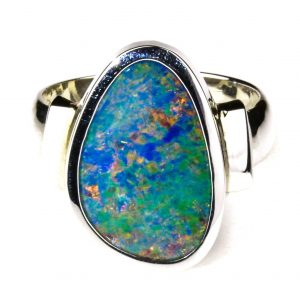 Large Black Opal Ring In Silver, Handmade in Silver