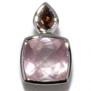 contemporary Square Garnet and Rose Quartz Pendant. Handcrafted in Sterling Silver.