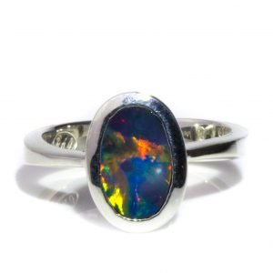 Oval Bright Opal Ring in Silver
