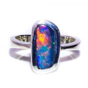 Asymmetrical Black Opal Ring