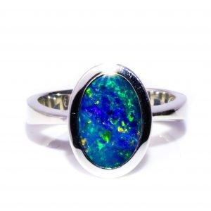 Oval Black Opal Ring in Silver