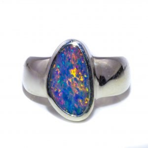 Black Opal Wide Band Ring. Contemporary design. Handcrafted in sterling silver.