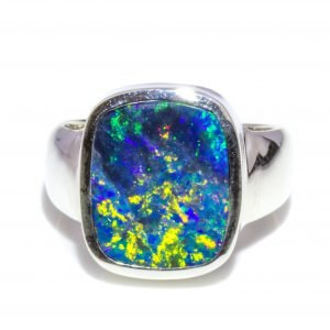 Large Black Opal Ring In Silver. A one-of-a-kind opal ring handmade in Melbourne