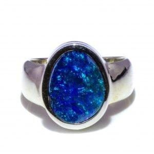 Oval Australian Black Opal Ring