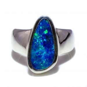Contemporary Australian Black Opal Ring in Sterling Silver