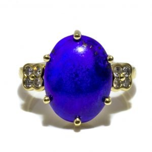 Lapis Lazuli and Contemporary Diamond Ring in 9 Ct Yellow Gold Handmade in Melbourne