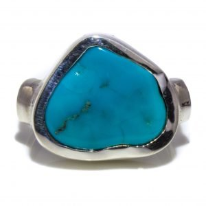 Large Asymmetrical Turquoise Ring in Sterling Silver