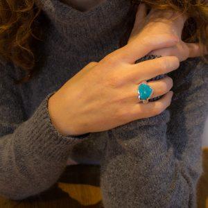 Large Asymmetrical Turquoise Ring
