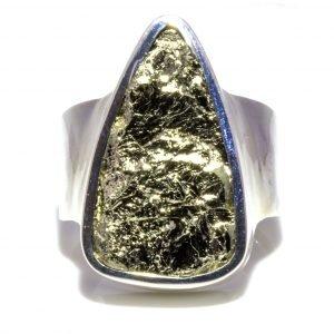 Triangular Wide Band Pyrite Ring