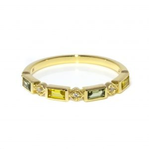 Green and Yellow Sapphire Baguette Ring, Handmade in Gold