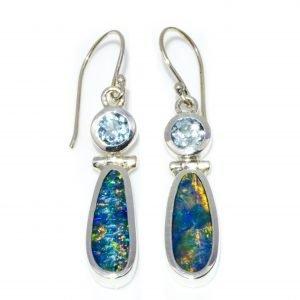 Black Opal and Blue Topaz Dangle Earrings, Handmade in Sterling Silver