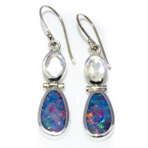 Black Opal and Moonstone Drop Earrings Handmade in Sterling Silver