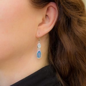 Black Opal and Moonstone Drop Earrings
