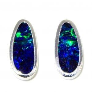 Opal Silver Stud Earrings