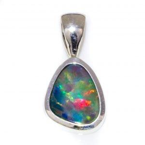 Fiery Opal Pendant in Silver, Handmade in Melbourne