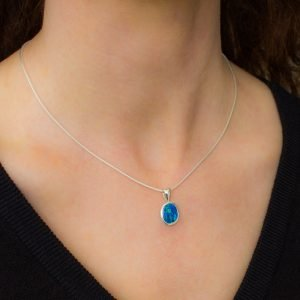 Blue and Green Opal Pendant in Silver
