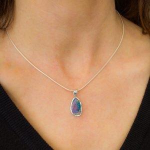 Contemporary Opal Pendant in Silver