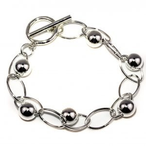 Silver Ball and Oval Link Bracelet