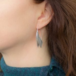 Brushed Silver Curve Drop Earrings