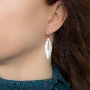 Brushed Silver Leaf Drop Earrings