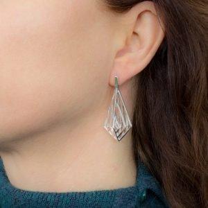 Silver Geometric Drop Earrings
