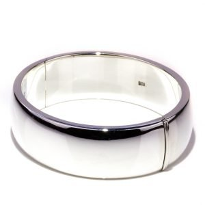 Wide Oval Hinged Silver Bangle